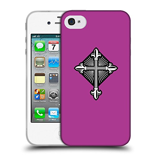 GoGoMobile Coque de Protection TPU Silicone Case pour // Q08010621 Christian Cross 26 byzantin // Apple iPhone 4 4S 4G