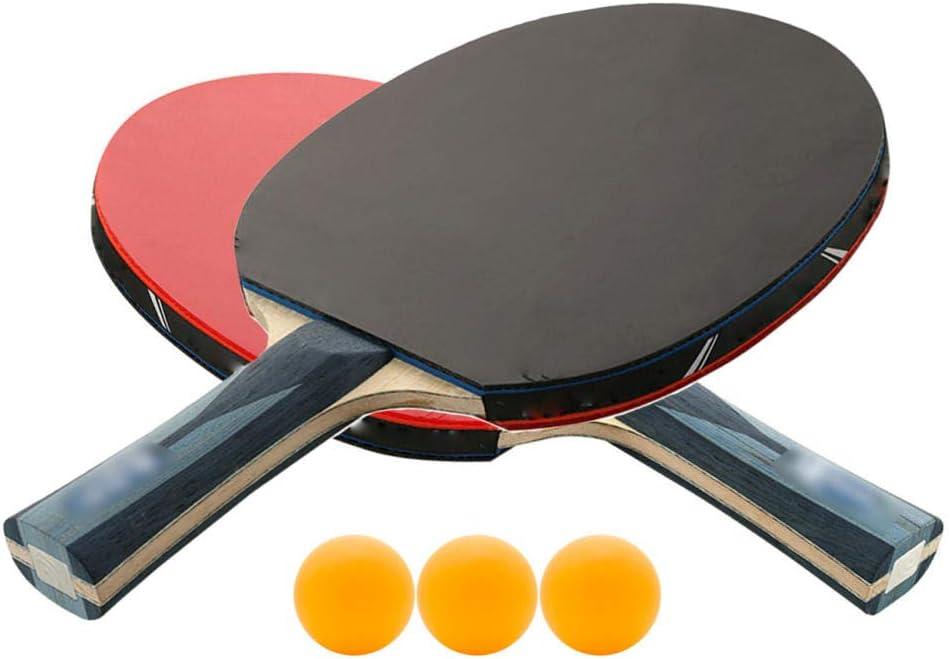 N/A Raqueta De Tenis De Mesa con 2 Mangos Acampanados - Pala De Ping Pong De Nivel De Torneo con 3 Gomas De Tenis De Mesa - Diseñada para Girar