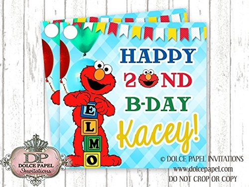 Amazon 10 ELMO Favor Tags 2nd Birthday Party ANY AGE Custom Fun