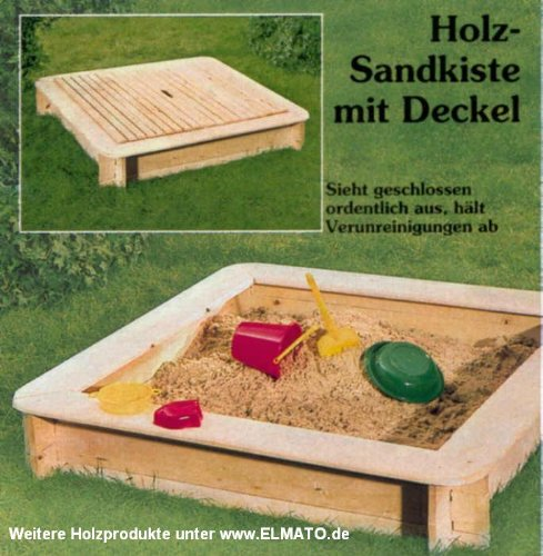 Elmato Sandkasten XL Fichte 160 x 160 cm mit Deckel 13707