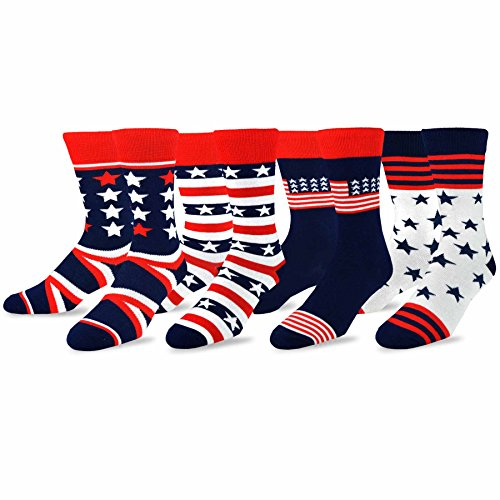 TeeHee-Mens-Novelty-Fashion-Americana-Cotton-Socks-4-Pair-Pack