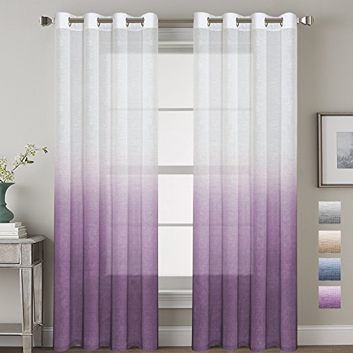 Linen Semi-Sheer Curtains Energy Efficient Privacy Protection Panels Ombre Natural Curtain Drapes with Tie-Back for Living Room, Grommet Top, Set of 2, 52x84-Inch, Plum Victorian Living Room Set