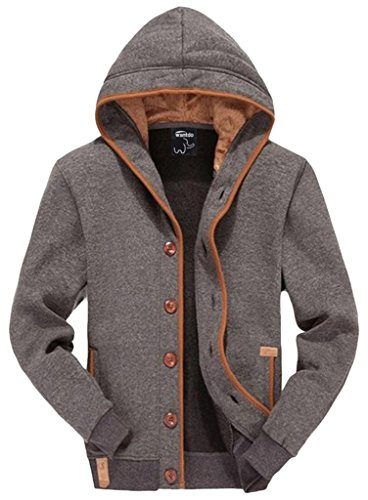 Wantdo Men's Hooded Jacket with Button US X-Large Grey