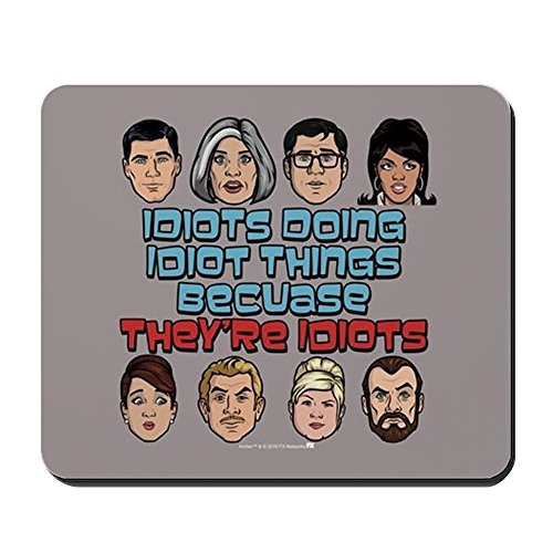 CafePress Archer Idiots Non-Slip Rubber Mousepad, Gaming Mouse Pad