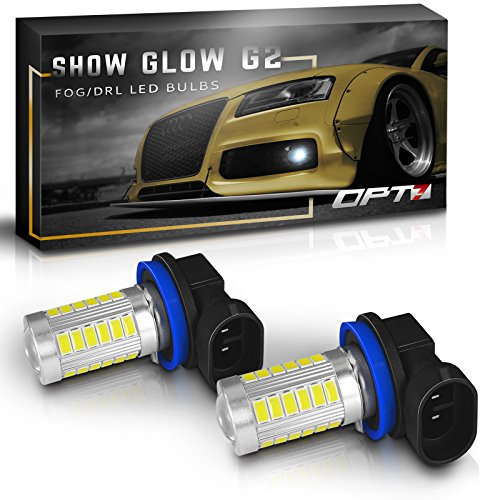 Pilot Hid Lights (OPT7 Show Glow G2 H11 (H8 H9 H16) LED Fog Light Bulbs - 6000K Cool White @ 395 Lms per bulb - All Bulb Sizes and Colors - 1 Year Warranty (Pack of 2))