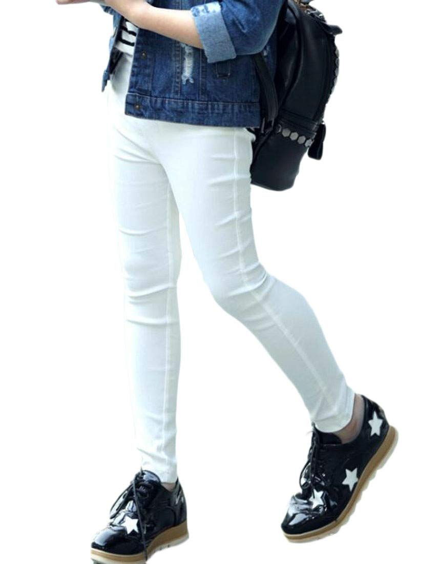 Pandapang Girls' Pencil All-Match Cute Fashion Trousers Ankle Legging White 4T