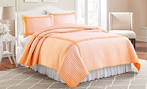 Amrapur 3MFFRMQG-PCH-KG 3 Piece Solid Quilt Set Frame Square Peach King