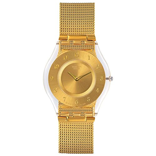 Swatch Skin Quartz Movement Gold Dial Ladies Watch SFK355M (Swatch Gold Watch Band Small)