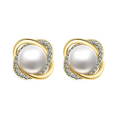 Amazon Com 18k Gold Stud Earrings Faux Pearl Earrings Set Zircon