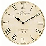 Large Shabby Chic Vintage Style Wall Clock With Roman Numerals In Antique Cream - 34cm