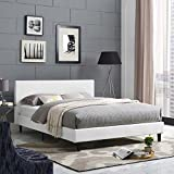 Modway Anya Upholstered White Faux Leather Platform Bed with Wood Slat Support in Full