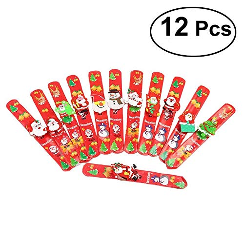 12Pcs Led Lights Santa Claus Christmas Slap Bracelet Circle Wristband for Party Favors Ornament Decorations Assorted Styles