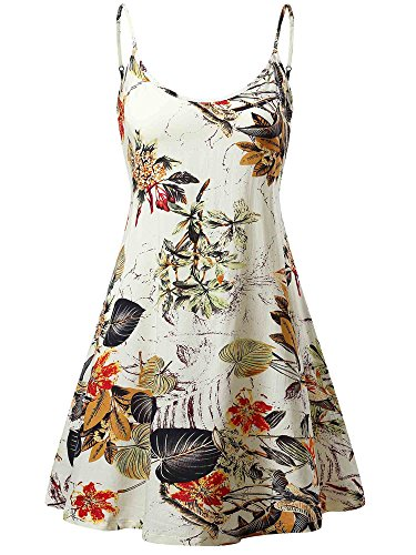 - MSBASIC Hawaiian Dress, Juniors Spaghetti Flared Beach Dress (Beige Floral,X-Large)