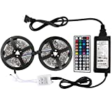 WenTop Led Strip Lights Kit Non-waterproof SMD 5050 32.8 Ft (10M) 300leds RGB 30leds/m with 44key Ir Controller and Power Supply for Trucks Boats Kicthen Bedroom and Sitting Room