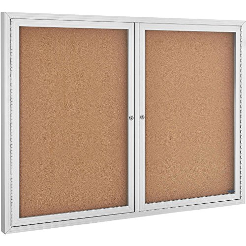 Enclosed Bulletin Board - Cork - Aluminum Frame - 48