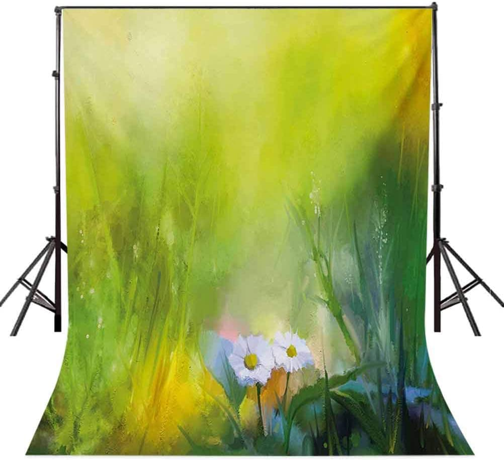 Flower 10x12 FT Photography Backdrop Oil Paint Print Daisies in Field Blurry Effects Nature Depiction Artistic Manner Background for Child Baby Shower Photo Vinyl Studio Prop Photobooth Photoshoot