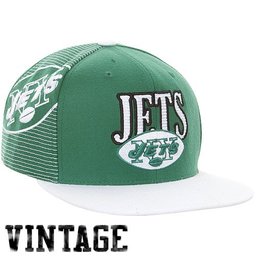 Mitchell & Ness New York Jets Throwback Laser Stitch Snapback Hat - (Jets Throwback Green Jersey)