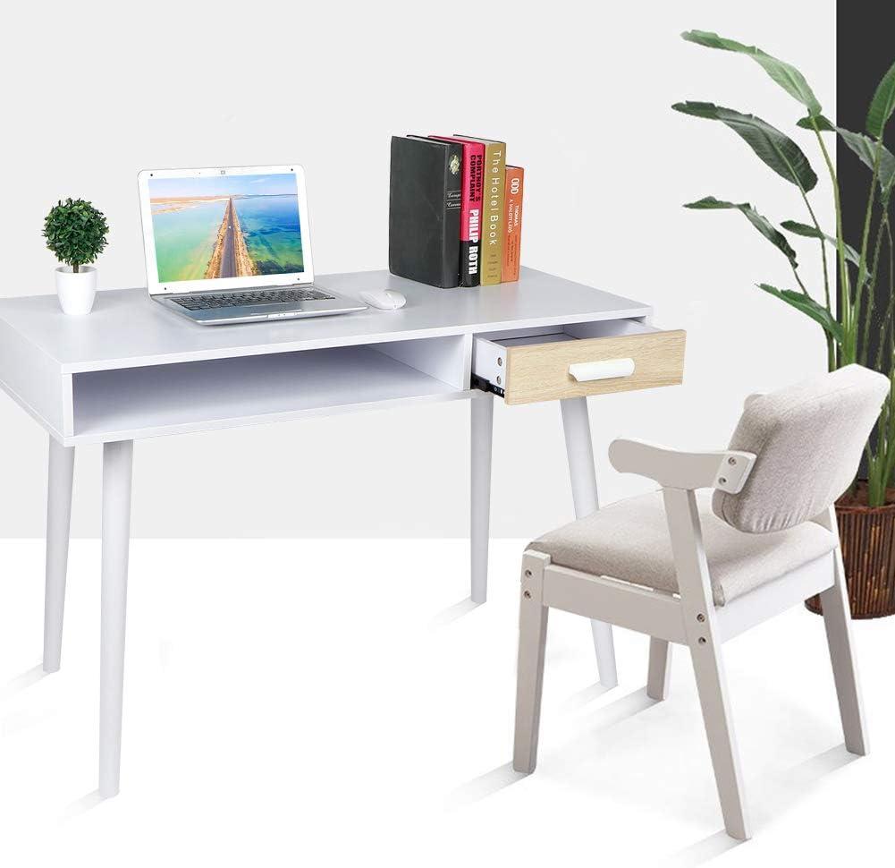 Schreibtisch Wei/ß PC Tisch Desktop Computertisch B/ürotisch Arbeitstisch Officetisch mit 1 Einzelschublade 1 offenes Fach Schminktisch Esstisch Laptop Computertisch f/ür Zuhause B/üro Schlafzimmer