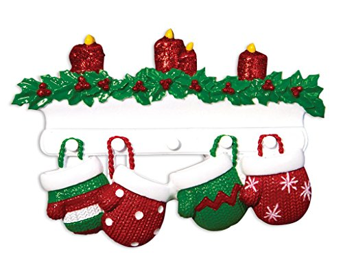 2018 Red & Green Mitten Family of 4 - Personalized Family Christmas Ornament - Family of 4 (with 2 Children)