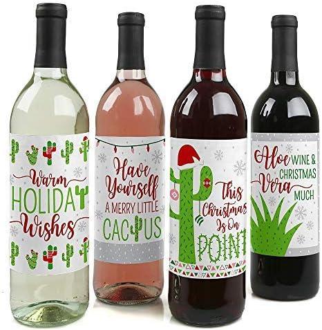 Merry Cactus - Juego de 4 pegatinas de etiquetas para botellas de ...