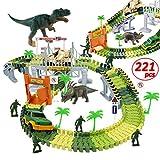WTOR Toys 221Pcs Dinosaur Toys Race Track Car Boys Toys Set with Dinosaur Race Cars Bridge for Kids Boys Girls Aged 3 4 5 6 7 8 Christmas Birthday Gifts