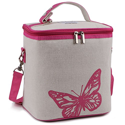 Lunch Bag, Insulated Lunch Cooler Large Lunchbox Bag Reusable Tote Bag Outdoor Picnic Bag with Detachable Shoulder Strap for Girl ()