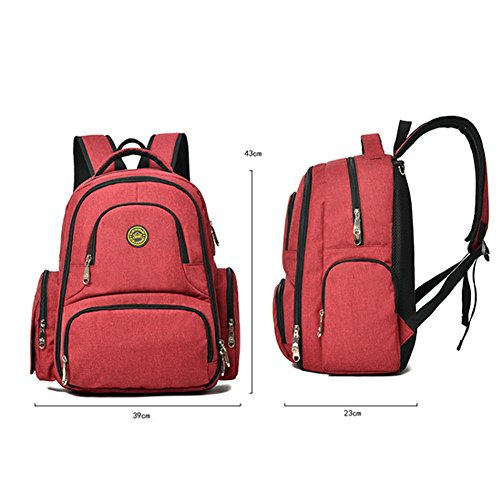 Bolsa de pañales de bebé con 16bolsillos resistente al agua con tela Oxford, mochila de viaje con cambiador y con correa para cochecito Welkey. rojo rosso verde