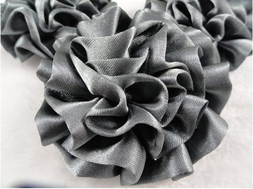 15pc Big Satin 55mm Ribbon Rose Flower Silver Gray