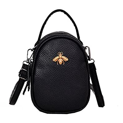 Olyphy Genuine Leather Small Shoulder Bag for Women, Mini Bee Cross Body Purse Round Handbag Black Size: Small