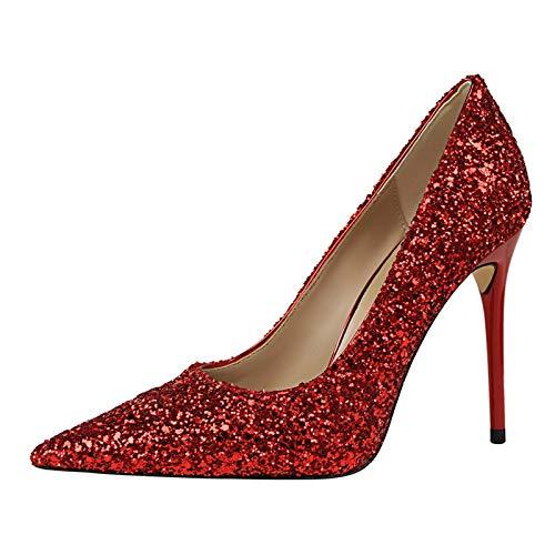 Zapatos Gradiente Señaló Alto Boca Boda Color Flyrcx Damas Moda Solo Stiletto Tacón J Cristal Baja qnH1C1