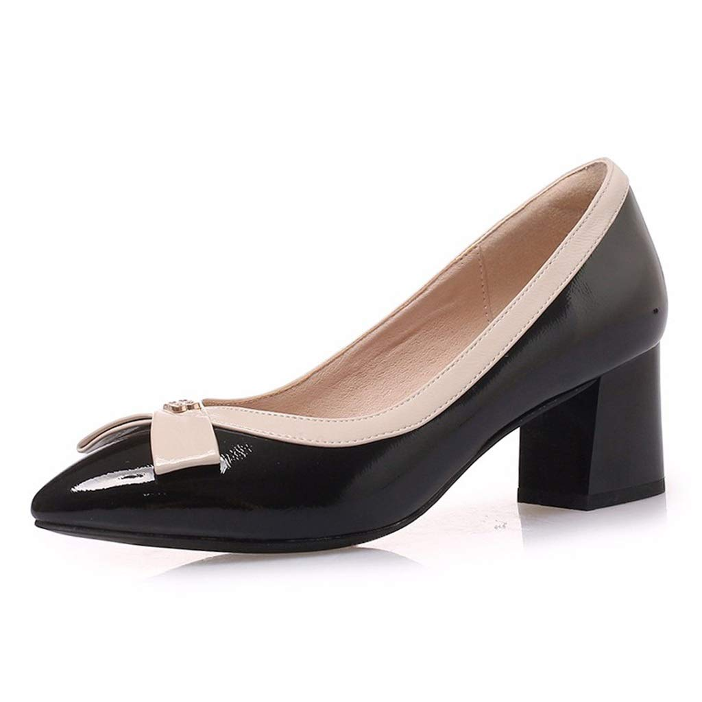 BLACK Large Size shoes Small Size Women's shoes Women's Thick with Spring and Summer New OL Work shoes Pointed with Small Code Bridesmaid shoes Casual Small shoes (color   Black, Size   33)