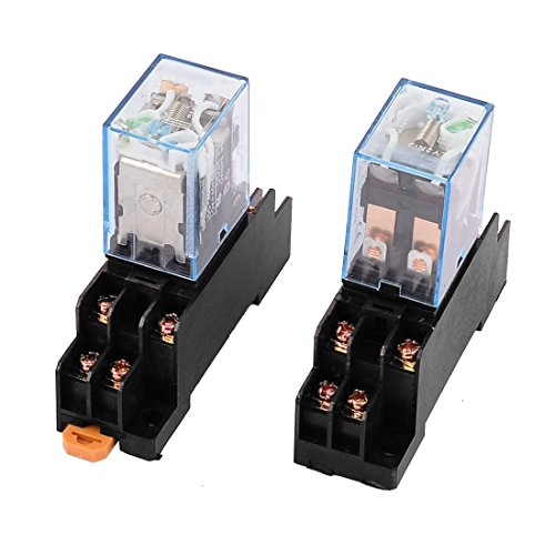 2 Pcs DC 12V 5A Coil 35mm DIN Rail DPDT 8Pin Power Relay + Socket Base