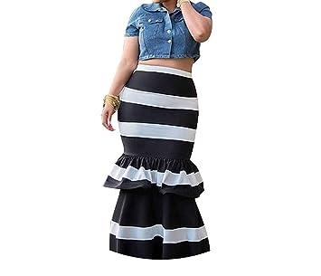 Faldas largas con Volantes a Rayas, Estilo Vintage, con Cremallera ...