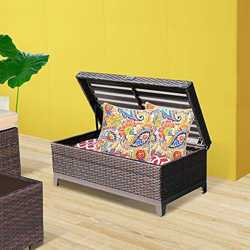 Orange CasualRattan Wicker Storage Bench Box (Brown Wicker& White Cushion)