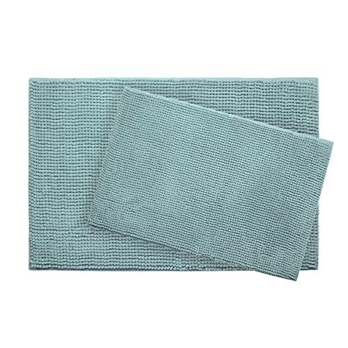 Plush Memory Foam Chenille with BounceComfort Technology 17x24 and 20x30 2-Piece Bath Mat Set, Aqua ()