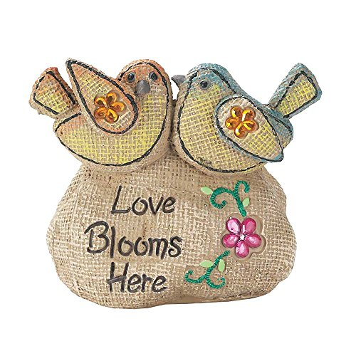 - Love Blooms Here Birds Jeweled Flowers Textured Burlap Design Garden Rock Stone