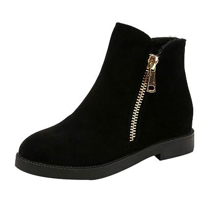 Botas Cortas para Mujer,ZARLLE Moda Mujeres Tobillo Corto Botines Cuero Caballero Damas Botas Zapatos