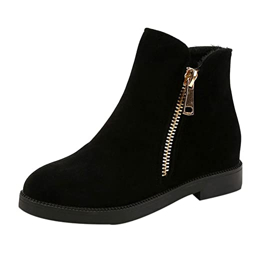 b6f6e26c4abb Ankle Booties For Women Low Heel Liraly Fashion Solid Winter Warm Flock  Zipper Martin Boots Round