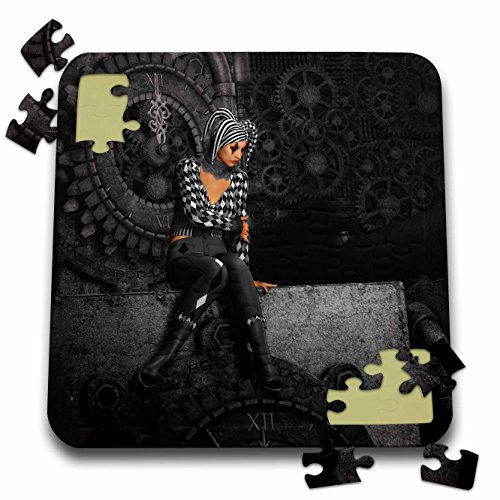 3dRose Simone Gatterwe Designs Gothic – A sad gothic harlequin sits on a clock it is 5 minutes before 12-10×10 Inch Puzzle (pzl_172936_2)