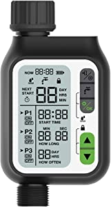 S SMAUTOP Hose Automatic Watering Timer,Irrigation Timer with Timed Irrigation, Rain Sensor 3 Separate Irrigation Programs, Large LCD,Upgrade Material,Faucet Digital Watering Timer for Garden Lawn