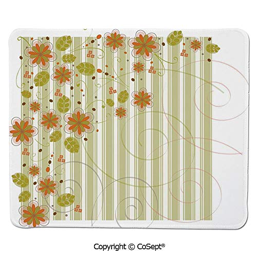 - Mouse Pad,Retro Flourishing Spring Flowers and Swirled Branches on Striped Background,for Computer,Laptop,Home,Office & Travel(7.87