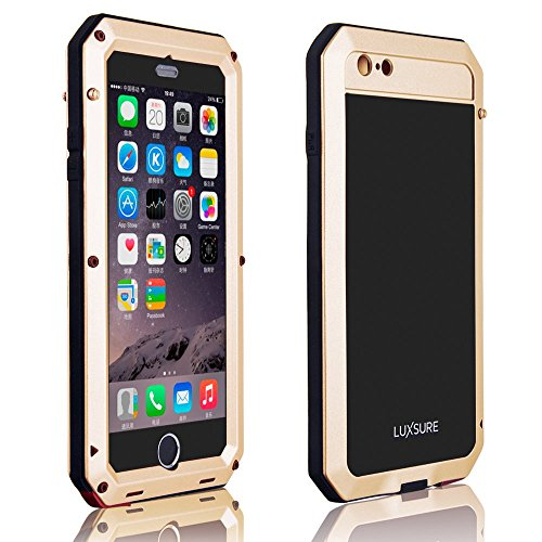 """iPhone 6 Plus Case, Luxsure Aluminum Case Water Resistant Shockproof Dust/Dirt/Snow Proof Aluminum Gorilla Glass Metal Military Heavy Duty Armor Protection Case for iPhone 6 Plus 5.5"""" (Champagne)"""