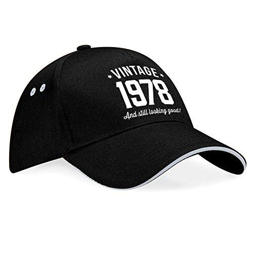 Regalo de 40 cumpleaños, 40 cumpleaños, regalo de 40 cumpleaños para hombres, regalo de 40 cumpleaños para mujeres, 1977 cumpleaños, vintage, sombrero, gorra de béisbol, tela, Black (Grey Trim), talla Black (Grey Trim)