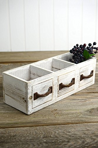 Wood Drawer Planter Box Drawer 3 Compartments 13in - Excellent Home Decor - Outdoor Indoor