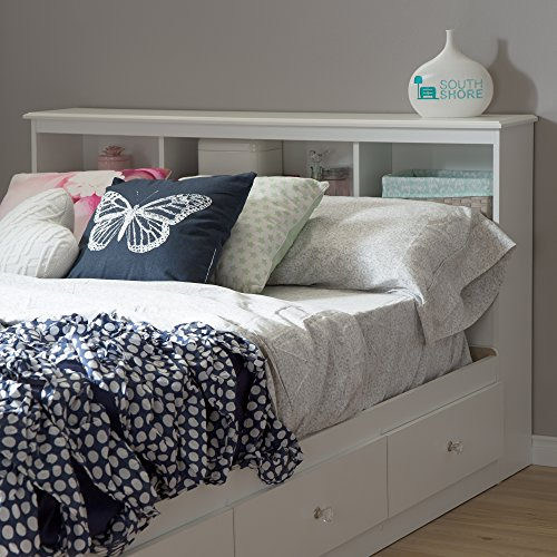 South Shore 54'' Crystal Bookcase Headboard, Full, Pure White by South Shore