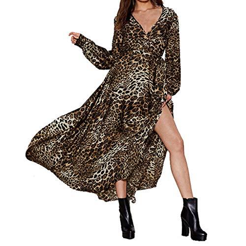 Sttech1 Women Sexy Long Sleeve V-Neck Leopard Print Holiday Long Maxi Dresses Yellow