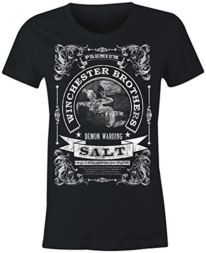 6TN Ladies Winchester Brothers Demon Warding Salt T Shirt (Medium Black)