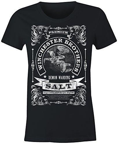 6TN Ladies Winchester Brothers Demon Warding Salt T Shirt(Black Large)