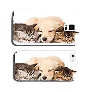 golden retriever puppy dog sleep with two british kittens. cell phone cover case iPhone5