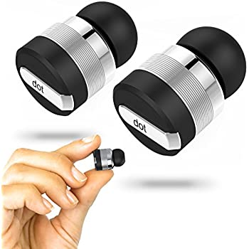 DOT True Wireless Bluetooth Earbuds w/ Mic & Noise Reduction Technology. WORLD'S SMALLEST. Comes w/ 2-in-1 Power Bank Charging Case. As Seen on IndieGoGo! (Black)